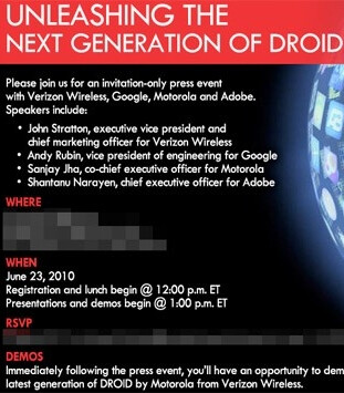 NYC event on June 23 to showcase the new Motorola DROID models