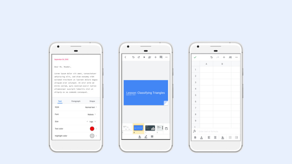 Google updates Docs, Sheets, and Slides Android apps with new look