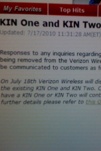 Confirmed: Verizon halts all on-line sales of KIN phones