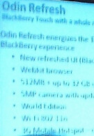 Slide shows Odin refresh specs for BlackBerry Storm 3