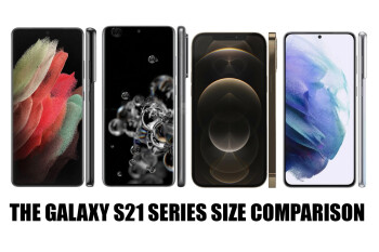 Samsung Galaxy S21 vs S21+ vs S21 Ultra size comparison with the S20 and iPhone 12 series