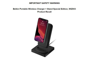 Portable Wireless charger by Belkin, sold by Apple, is being recalled for fire and shock hazards