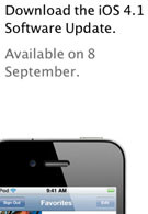 iOS 4.1 to be available beginning on September 8th