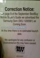 Best Buy retracts its statement of launching the Samsung Gem