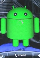 Live wallpaper featuring Android's green droid devours apples