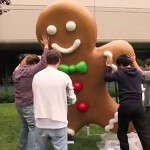 Giant Gingerbread Man touches down at Googleplex; launch of next Android OS build imminent