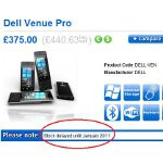 A word from Britain says that Dell Venue Pro is delayed until January 2011