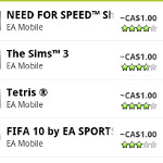 If it's in the game, it's in the Android Market; EA mobile games are now 99 cents to download
