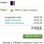 T-Mobile's Samsung Vibrant is given the instant price of free online