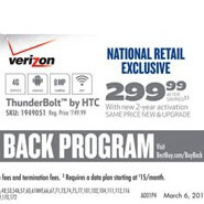 HTC Thunderbolt to cost $299.99 on a contract according to Best Buy