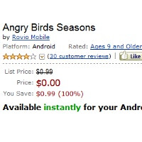 Angry Birds Seasons premium version available for free as a one day promo in Amazon's Appstore