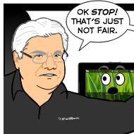 Funny BlackBerry PlayBook comic with RIM's Mike Lazaridis