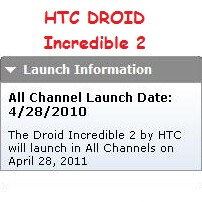 HTC DROID Incredible 2 gets an April 28th release date