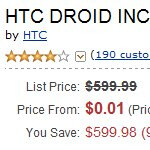 Verizon's HTC Droid Incredible is fittingly priced at a penny through Amazon