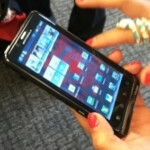 A picture of the Motorola DROID Bionic in a Verizon store