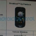 Pantech Breakout breaks cover and appears to be yet another 4G LTE smartphone for Verizon