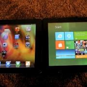Watch Apple iPad 2 with iOS 5 beta face off Samsung's Windows 8 slate