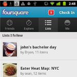 New lists feature is found with the latest version of Foursquare for Android