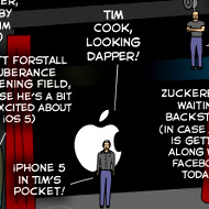 A cartoon about tomorrow's iPhone event takes the pressure off Tim Cook freezing up