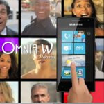 Advertisement for Windows Phone centers around the vivid Samsung Omnia W
