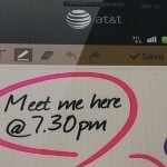 Posters featuring the AT&T branded Samsung GALAXY Note appear at CES