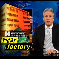 Jon Stewart talks with Siri about workers' conditions at Foxconn