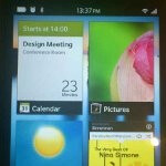 Additional BlackBerry 10 photos show us the app tray and access to the messaging inbox