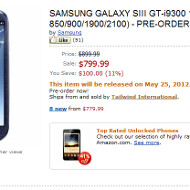 Amazon listings confirm AT&T and T-Mobile Samsung Galaxy S III, SIM-free units priced at $799