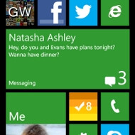 Windows Phone 8 home screen simulator appears in the Marketplace