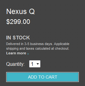 Nexus Q social media player in stock at Google Play Store