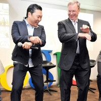The heck with patent meetings - Google's Eric Schmidt busts a move with PSY, Gangnam Style
