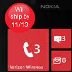 Verizon starts shipping the Nokia Lumia 822; delivery date is November 15th