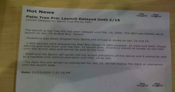 Sprint Treo Pro debut halted until February 15th