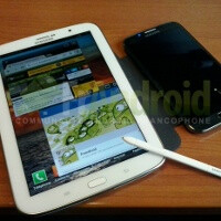 Images show Samsung Galaxy Note 8.0 with S Pen side by side with a Note II