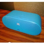 Nokia JBL PowerUp Wireless charging speaker in black and cyan now 50% off on Amazon