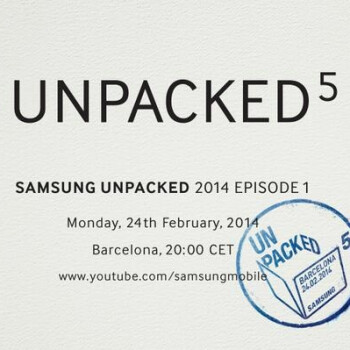 Samsung Unpacked event confirmed for February 24 at MWC 2014
