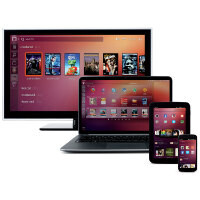 Ubuntu convergence shown with the same app running on a phone, tablet, and PC