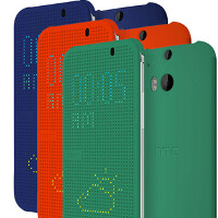 Leaked press shot of new HTC One (2014) flip covers show off a trio of color options