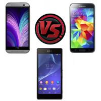 HTC One (M8) vs Samsung Galaxy S5 vs Sony Xperia Z2 vs Note 3 vs HTC One vs Galaxy S4 vs Xperia Z1 vs iPhone 5s: size comparison