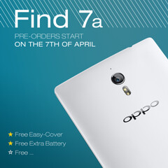 Oppo Find 7a will be offered with a free extra battery and free Easy Style cover (only in the pre-sale period)