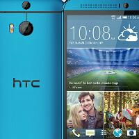 HTC One (M8) appears in blue