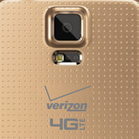 Samsung Galaxy S5 pictured in copper gold, wearing Verizon brand