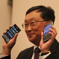 BlackBerry CEO John Chen shows off the BlackBerry Passport and the BlackBerry Classic