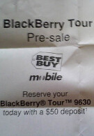 Best Buy Mobile taking pre-orders for the BlackBerry Tour 9630