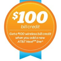 AT&T offering a $100 credit to new service activations using AT&T Next