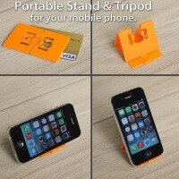 STAND-POD is a smartphone stand & tripod that fits in your wallet