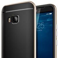 Spigen's HTC One M9 Neo Hybrid case portrays an HTC Eye-like front camera, mesh speakers