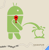 """Very """"mature"""": image of an Android pissing on Apple's logo found in Google Maps"""