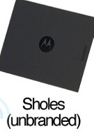 Battery covers for the Motorola Droid/Sholes/Tao are pictured