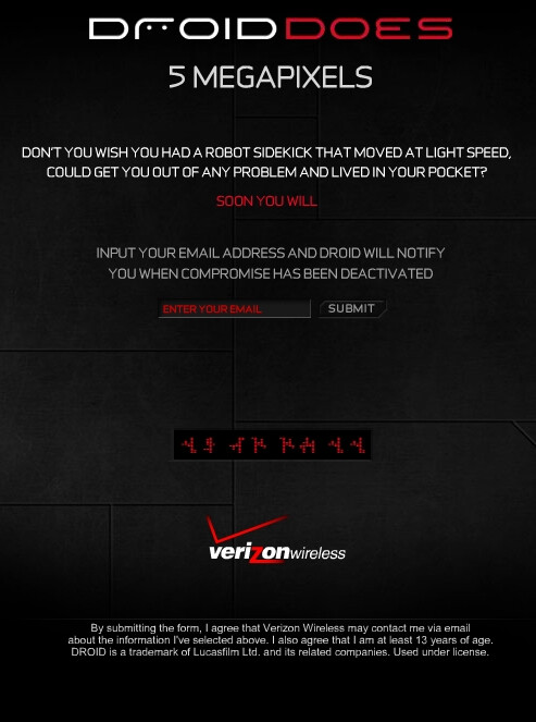 UPDATED with video: Verizon's Motorola Droid site take a jab at the iPhone by saying
